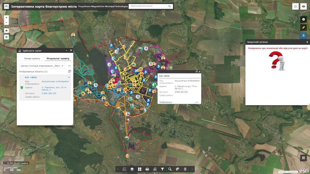 Geoinformation system environmental safety of the city